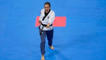Foto: Paula Fregoso ganó la medalla de oro en la prueba de poomsae individual femenino de taekwondo, 27 de julio de 2019 (Twitter @CONADE)