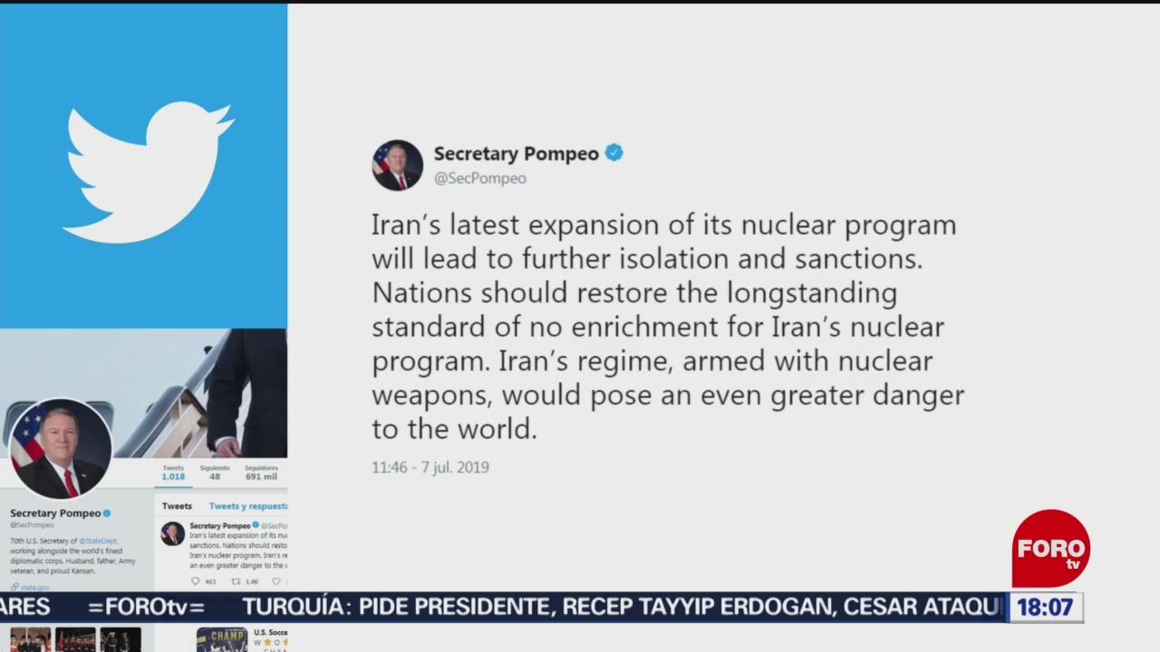 FOTO: Pompeo amenaza a Irán con más sanciones, 7 Julio 2019