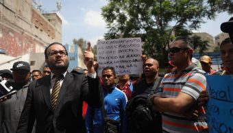 Foto: protesta de policías federales en el Senado. EFE