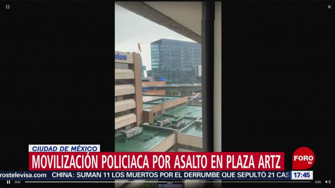 Reportan movilización policiaca en Plaza Artz Pedregal
