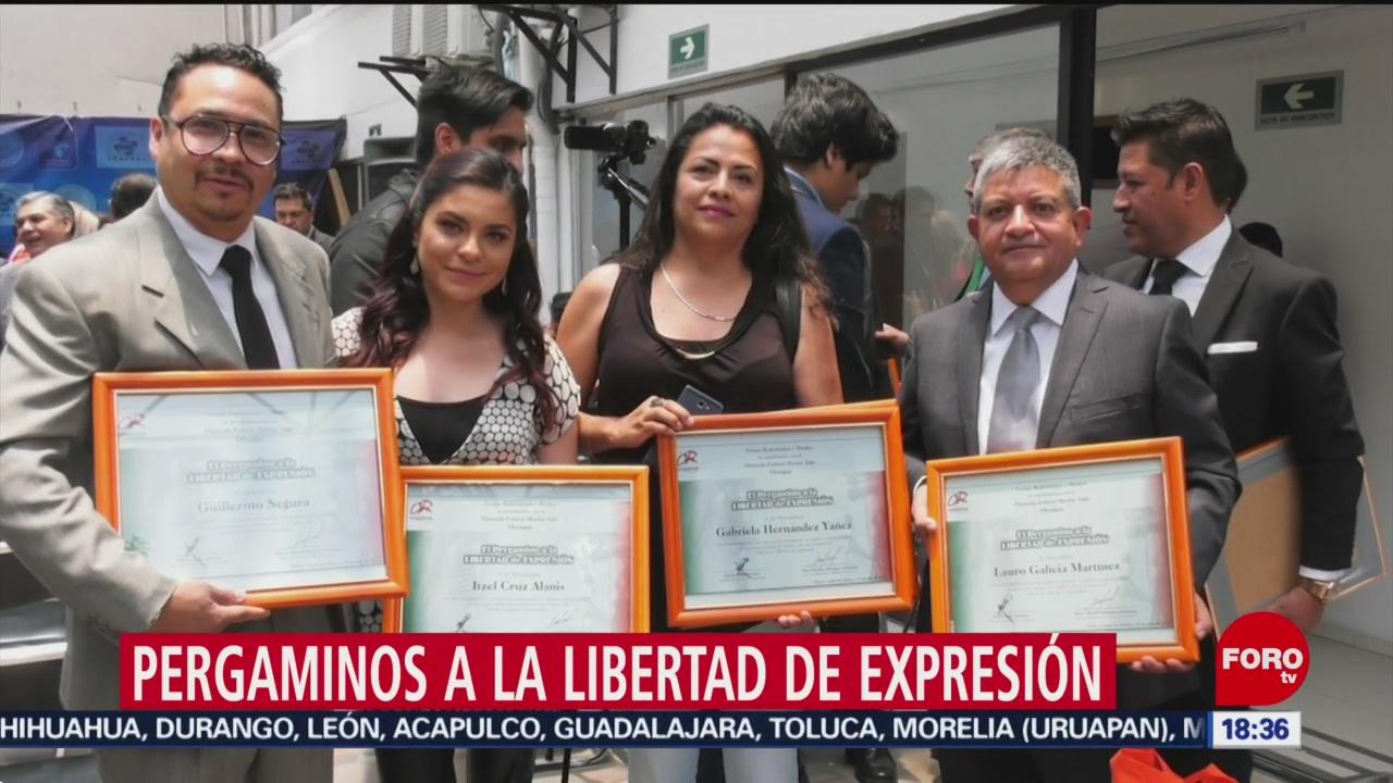 Foto: Reporteros Noticieros Televisa Reciben Pergaminos Libertad Expresión 25 Julio 2019