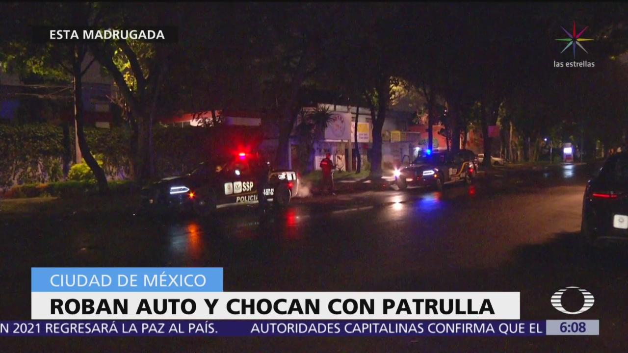 Roban auto y chocan con patrulla en colonia CTM Culhuacán, CDMX