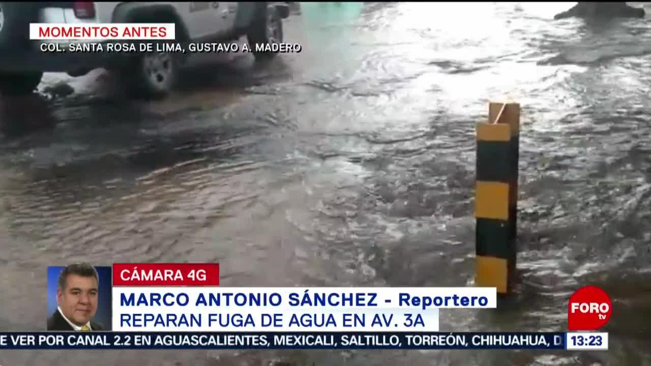 FOTO: Se registra una fuga de agua en la alcaldía Gustavo A. Madero, 20 Julio 2019