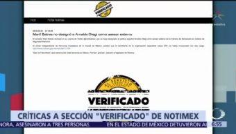 Sección 'Verificado' de Notimex recibe críticas