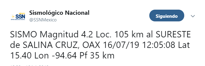 Foto Sismo de magnitud 4.2 se registra en Salina Cruz, Oaxaca 16 julio 2019
