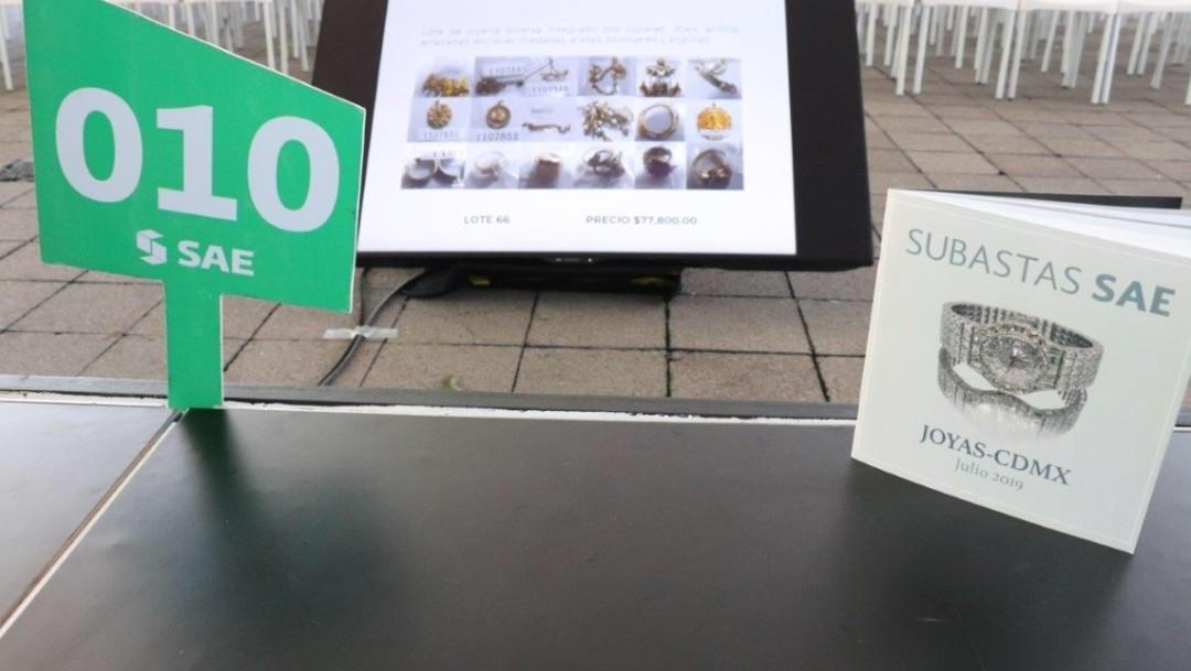 Foto: La Secretaría de Hacienda logró vender 110 lotes de joyas, muchas de ellas incautadas al crimen organizado, el 28 de julio de 2019 (Twitter: @SAE_Mex)