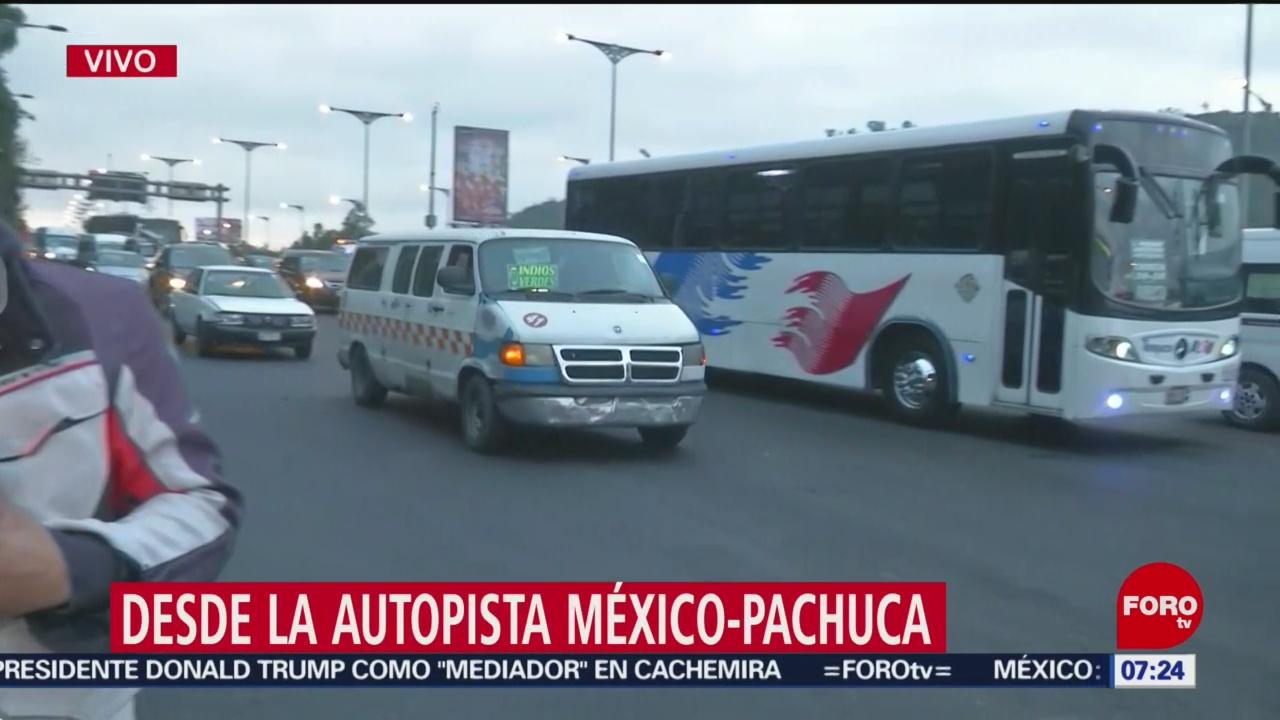 Tránsito lento en la México-Pachuca por mantenimiento en pavimento