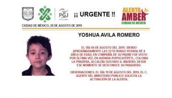 Foto Alerta Amber para localizar a Yoshua Avila Romero 20 agosto 2019
