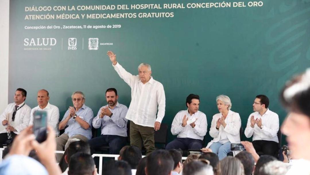 Foto: En la sede del Hospital Rural que lleva el nombre del municipio, el Jefe del Ejecutivo expuso que las concesiones mineras, el 11 de agosto de 2019 (Gobierno de México)