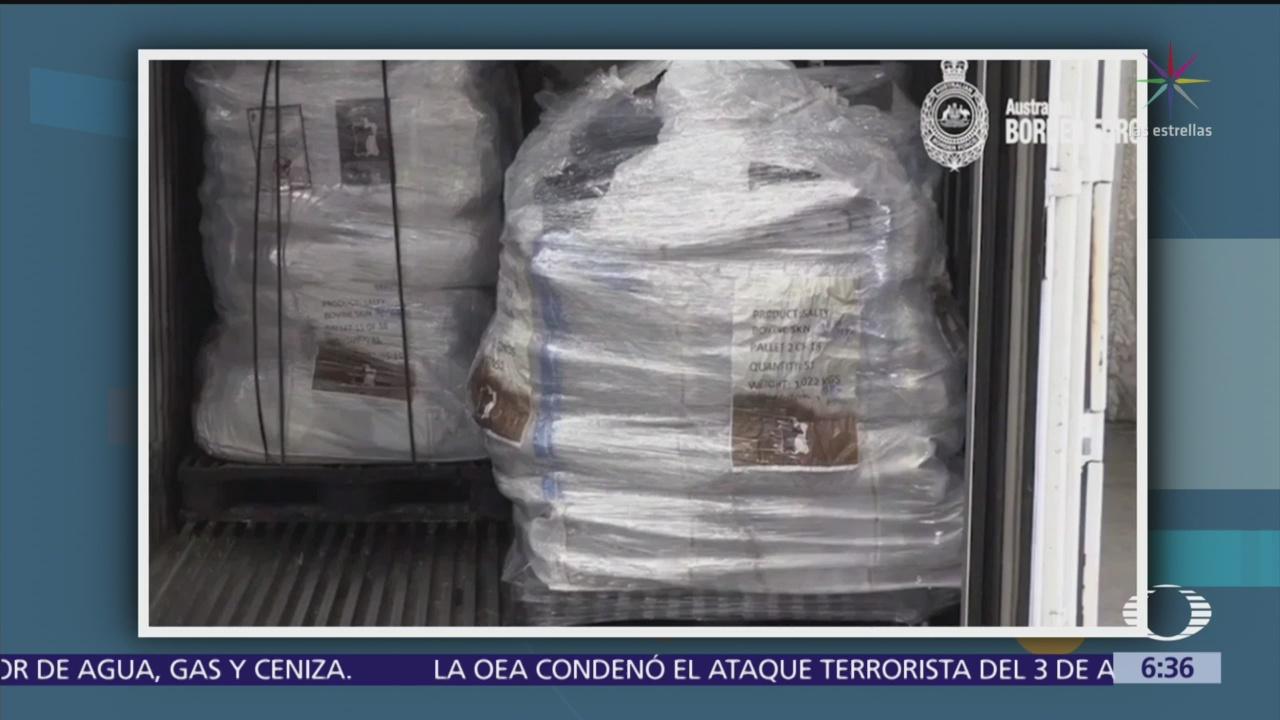 Australia incauta metanfetamina procedente de México