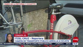 FOTO: Autobús atropella ciclista Paseo Reforma