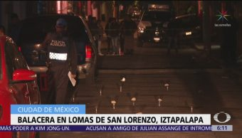 Balacera en Lomas de San Lorenzo, Iztapalapa, deja un muerto
