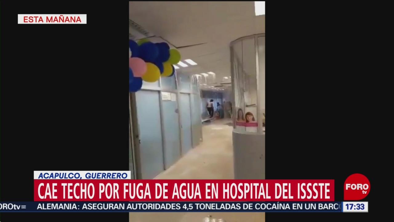 Foto: Video Cae techo por fuga agua hospital Acapulco