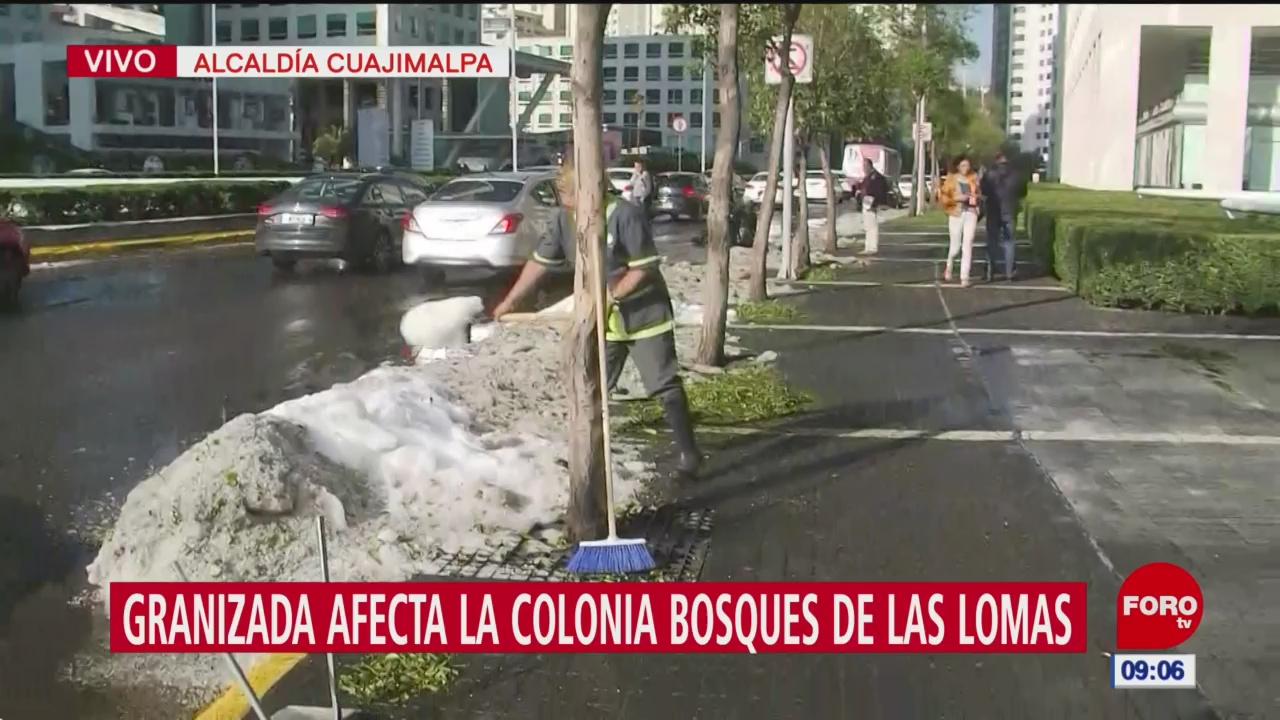 Continúa limpieza de granizo en alcaldía Cuajimalpa, CDMX