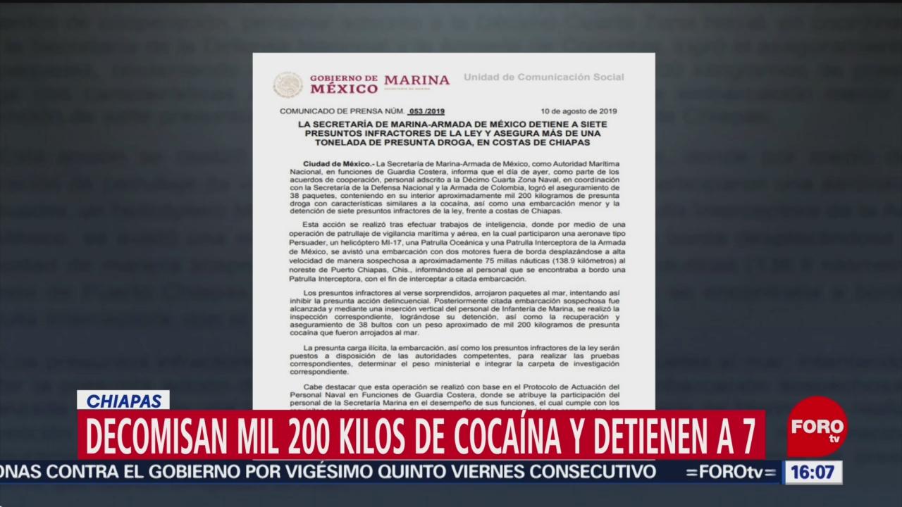 FOTO: Decomisan mil 200 kilos de cocaína y detienen a 7 en Chiapas, 10 Agosto 2019