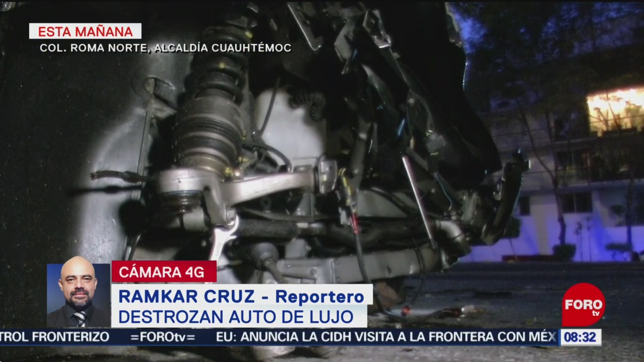 FOTO: Destroza auto de lujo en la colonia Roma Norte, 17 Agosto 2019