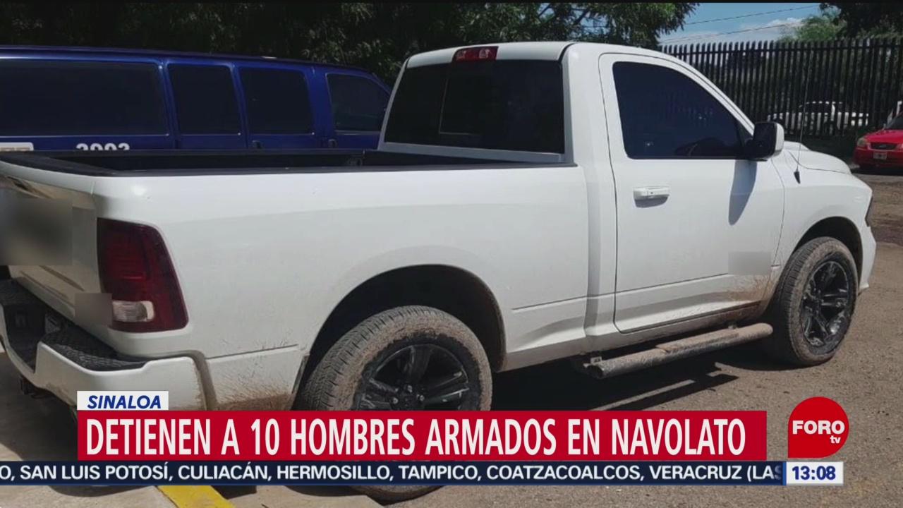 FOTO: Detienen a 10 hombres armados en Navolato, Sinaloa, 25 Agosto 2019