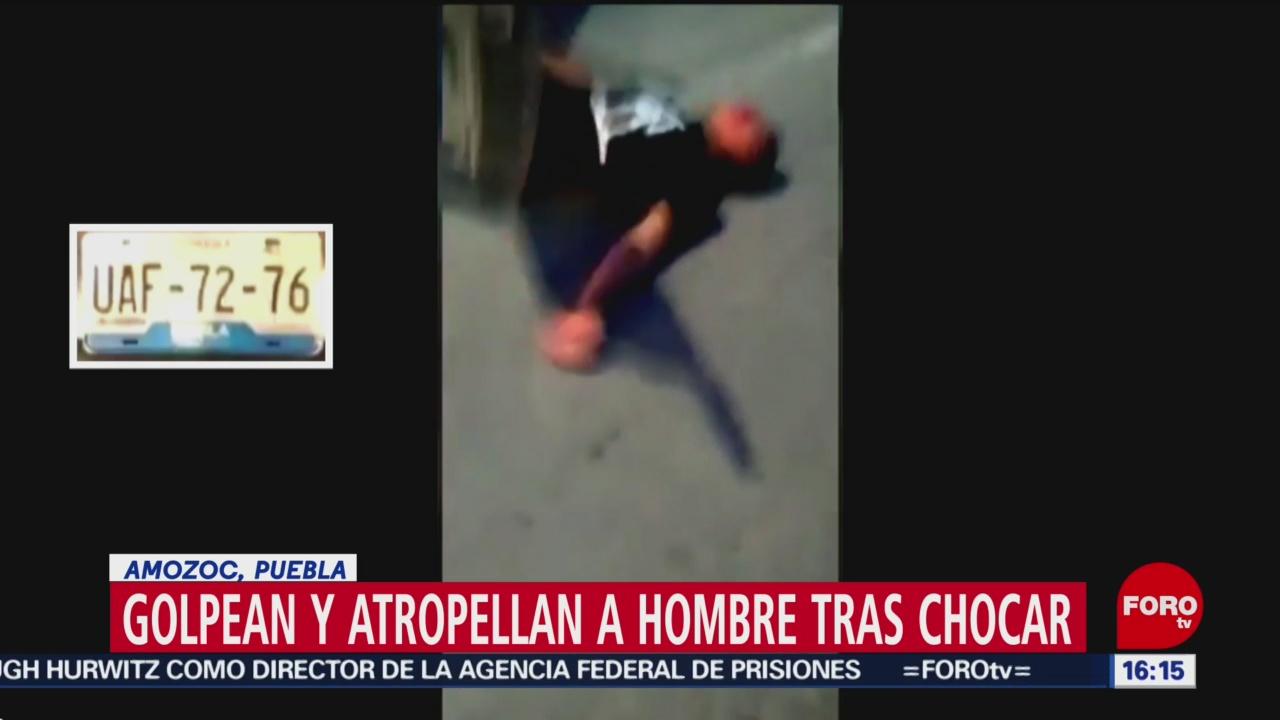 FOTO: Video Golpean atropellan conductor tras incidente vial Puebla