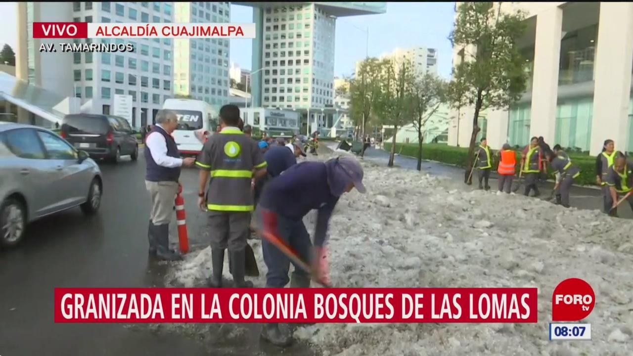 Limpian granizo en la alcaldía Cuajimalpa, CDMX