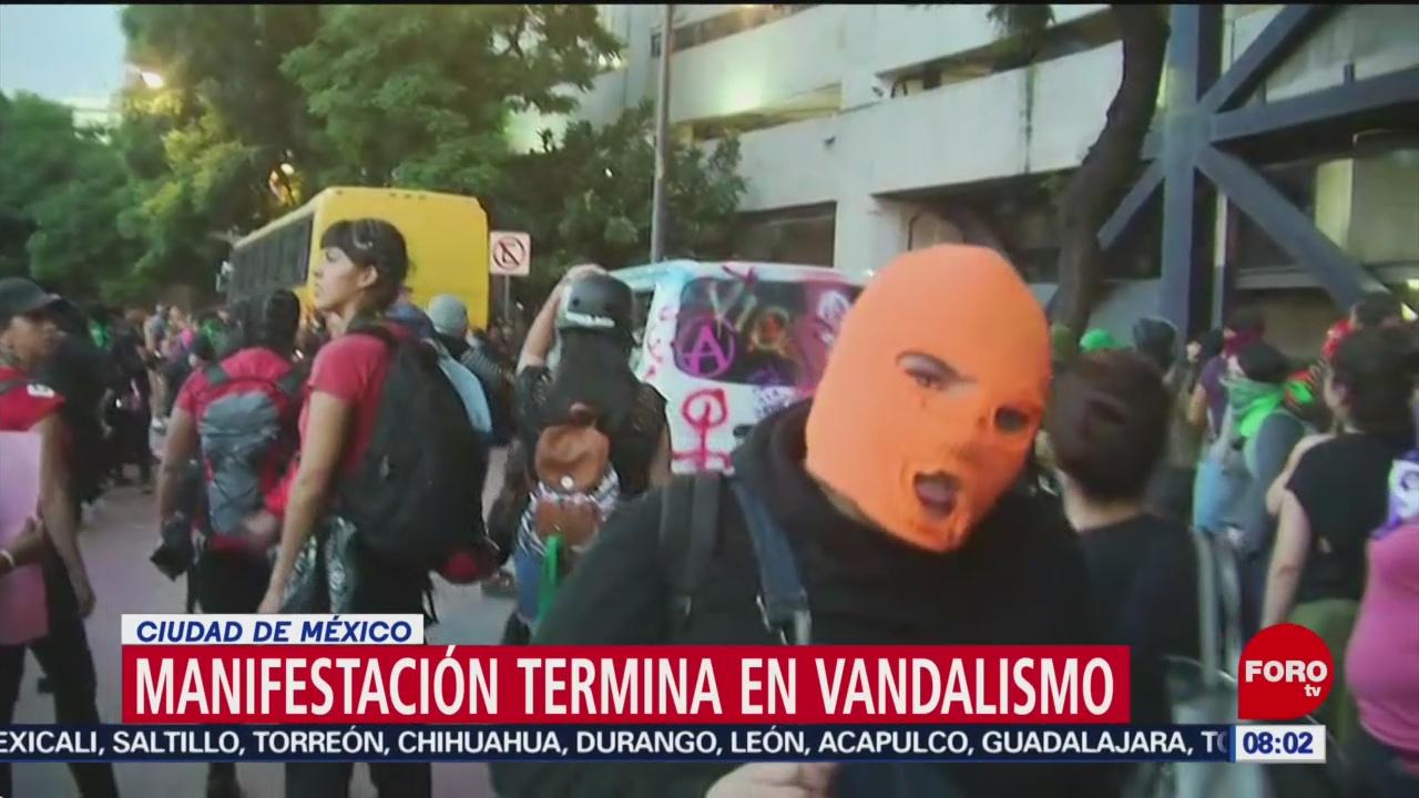 FOTO: Manifestación termina en vandalismo en la CDMX, 17 Agosto 2019