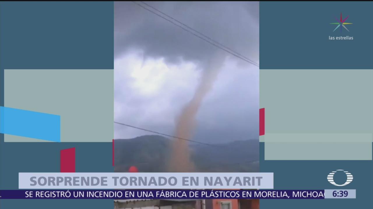 Tornado sorprende a habitantes en Tepic, Nayarit