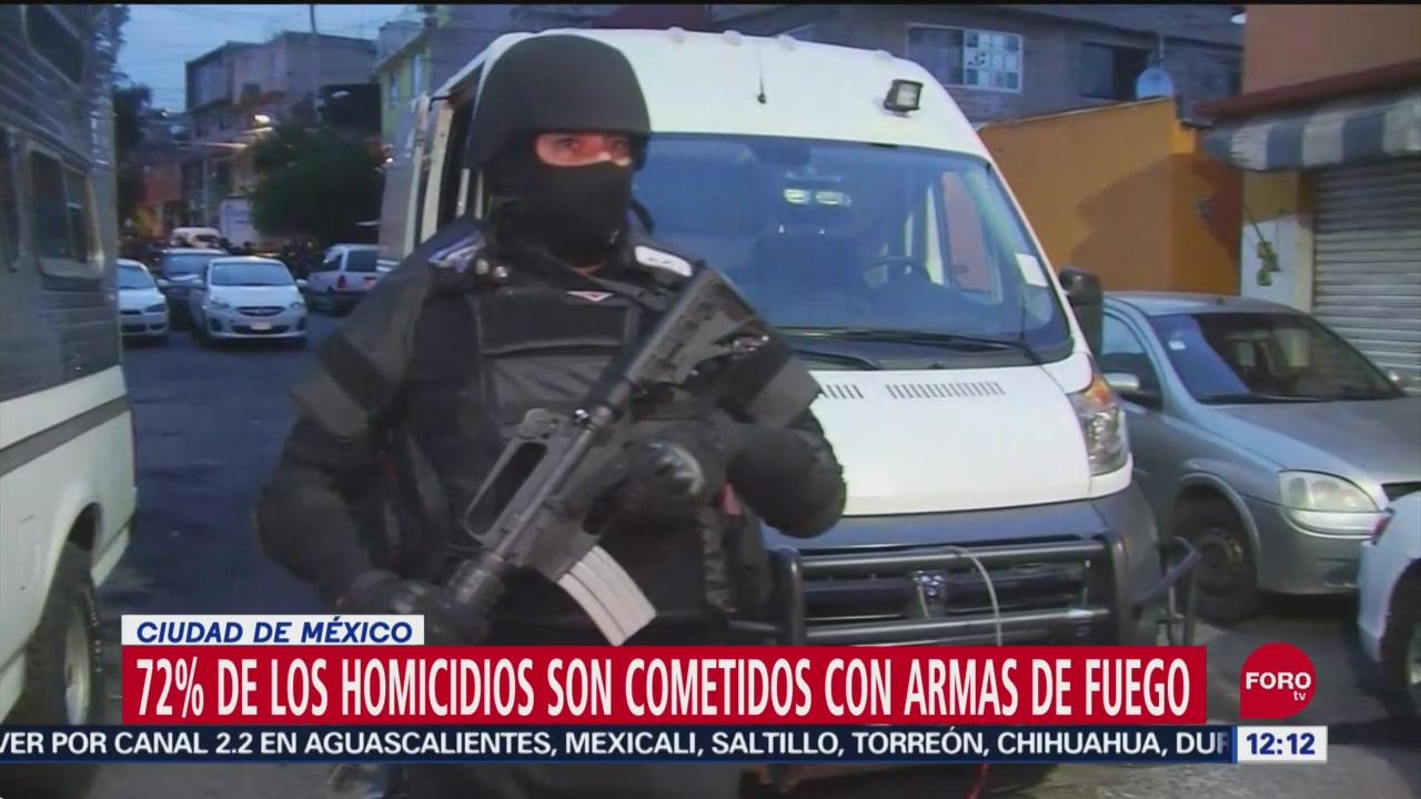 72% de homicidios son cometidos con armas de fuego en CDMX