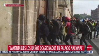 Foto: Daños Palacio Nacional Actos Vandálicos Encapuchados 26 Septiembre 2019