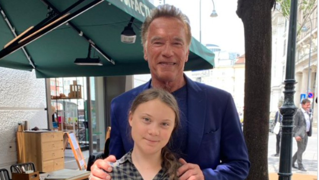 Foto: Arnold Schwarzenegger y Greta Thunberg, 27 de mayo de 2019,