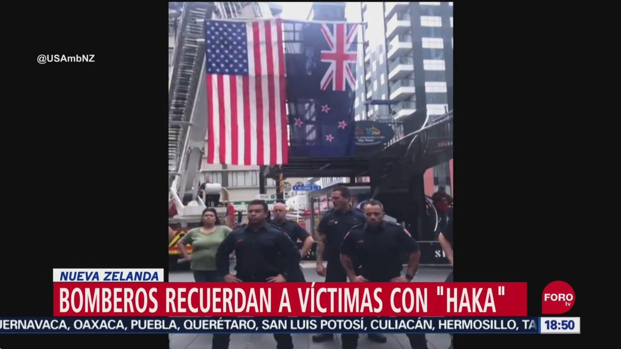 FOTO: Bomberos Nueva Zelanda dedican Haka víctimas 9-1
