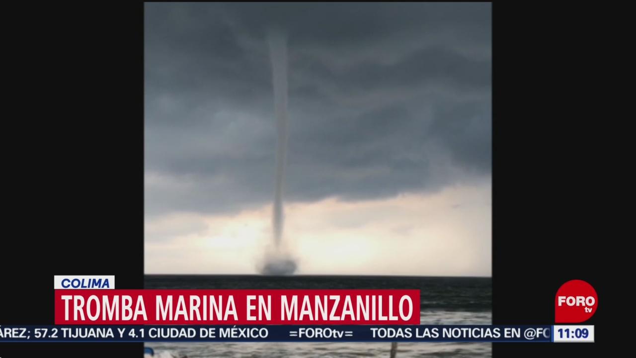Captan tromba marina en Manzanillo, Colima
