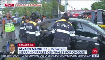 FOTO: Choque Entre Dos Vehículos Deja Herido Paseo Reforma