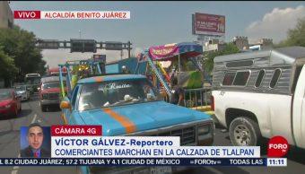Comerciantes marchan en la calzada de Tlalpan en CDMX