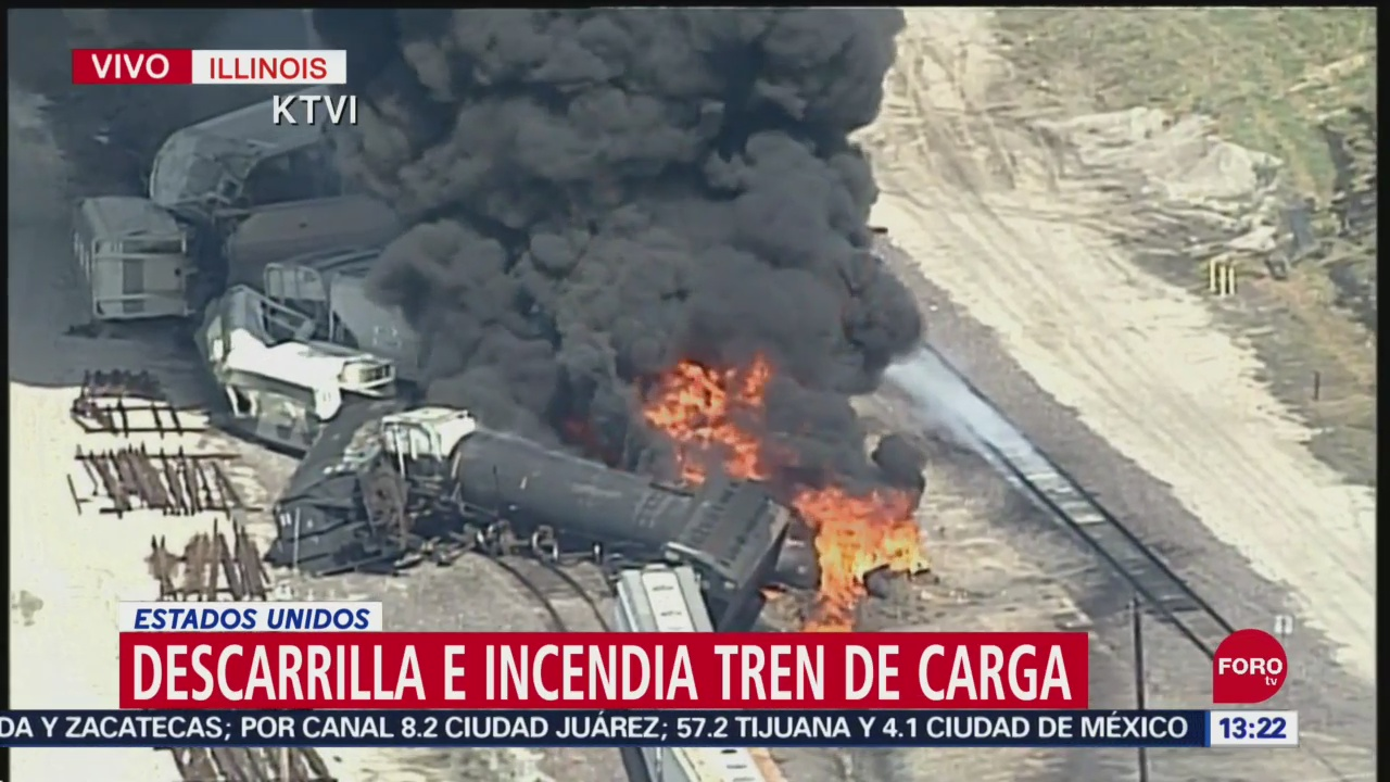 FOTO: Descarrila Incendia Tren Illinois Estados Unidos,