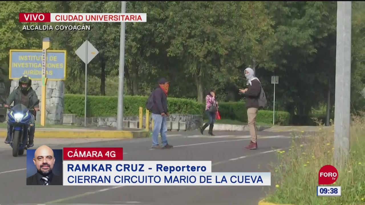 Encapuchados cierran circuito Mario de la Cueva, en la UNAM
