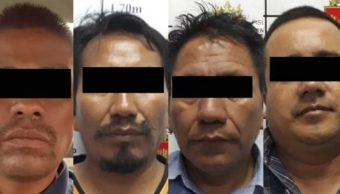 "Foto: La FGE de Chiapas detuvo a Marco Antonio ""N"", Sebastián ""N"", Benancio ""N"" y Orbelín ""N"". Twitter/@FGEChiapas"