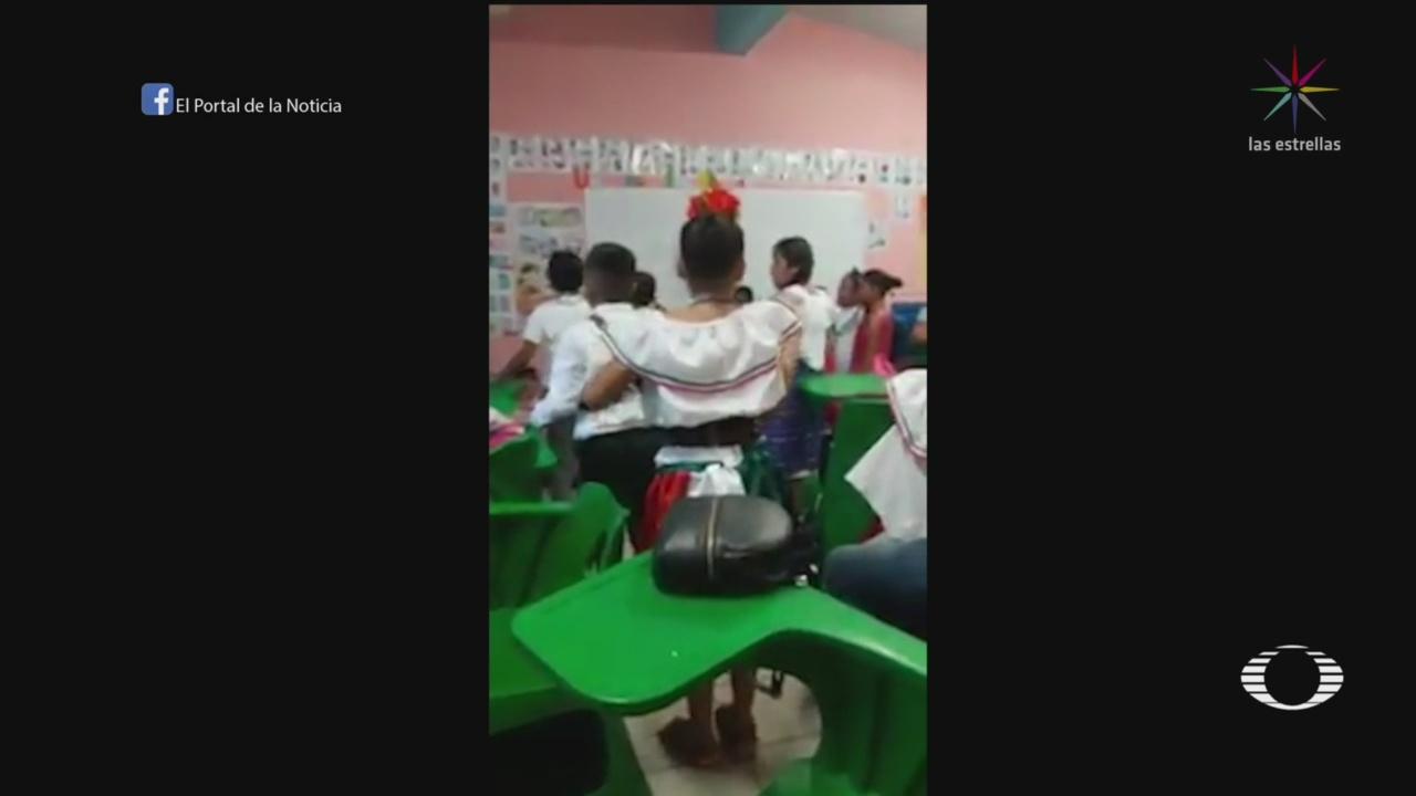 FOTO: Maestros resguardan a alumnos de una primaria de un tiroteo en Guaymas, 13 SEPTIEMBRE 2019