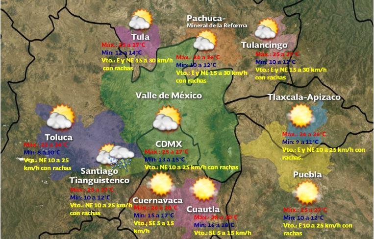 Foto: Pronóstico meteorológico para las siguientes 48 a 72 h en las Ciudades de la Megalópolis, 21 septiembre 2019 2019