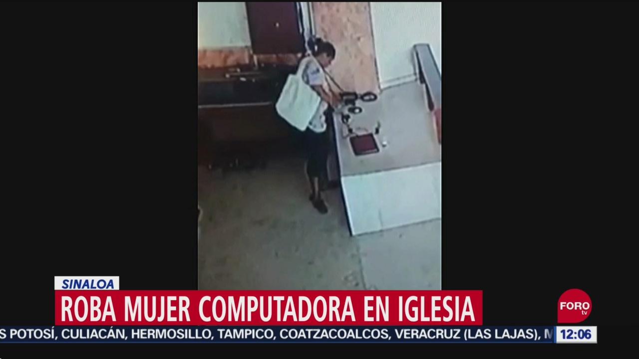 Mujer roba computadora en iglesia de Sinaloa