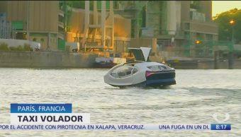 Prueban taxi volador en el río Sena de París
