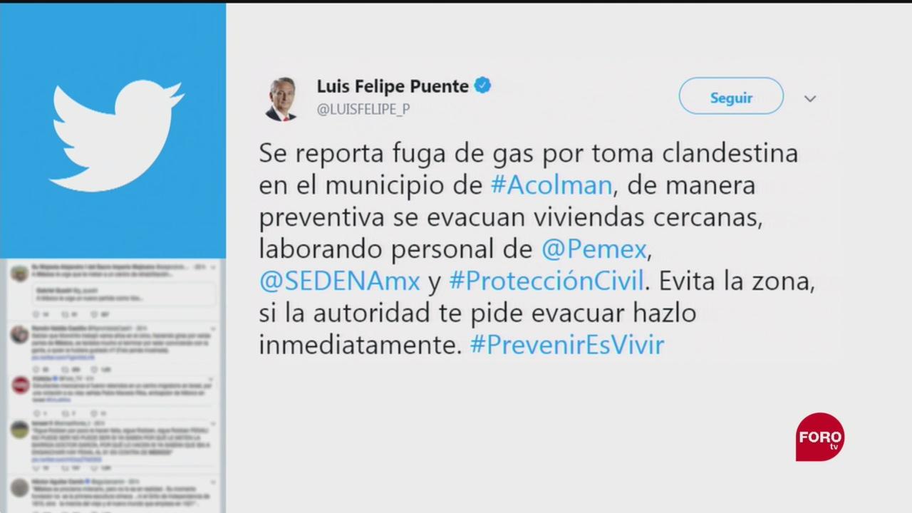 FOTO: Reportan fuga de combustible en Acolman, Edomex, 15 Septiembre 2019