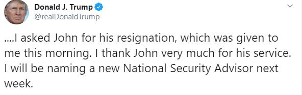 IMAGEN Trump despide a John Bolton, asesor de Seguridad Nacional (Twitter)