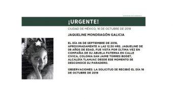 Foto Alerta Amber Ayuda a localizar a Jaqueline Mondragón Galicia