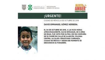 Foto Alerta Amber para localizar a David Emmanuel Gómez Herrera