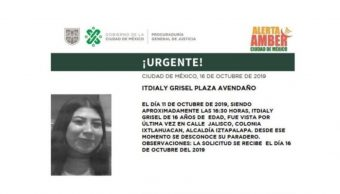 Foto Alerta Amber para localizar a Itdialy Grisel Plaza Avendaño