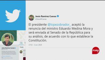 Foto: Amlo Acepta Renuncia Ministro Medina Mora 3 Octubre 2019