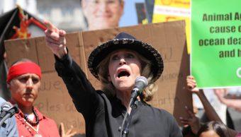 Foto: Jane Fonda ha acudido a varias protestas contra el cambio climático, 11 de octubre de 2019, (AP, archivo)