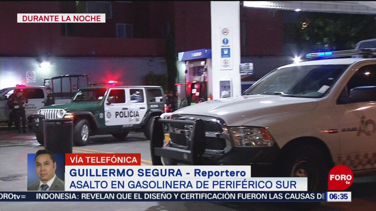 Asaltan gasolinera en Periférico Sur, en CDMX