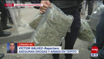 Aseguran drogas y armas en CDMX