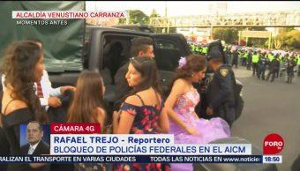 FOTO: Video Bloqueo Policías Federales Afecta Quinceañera,