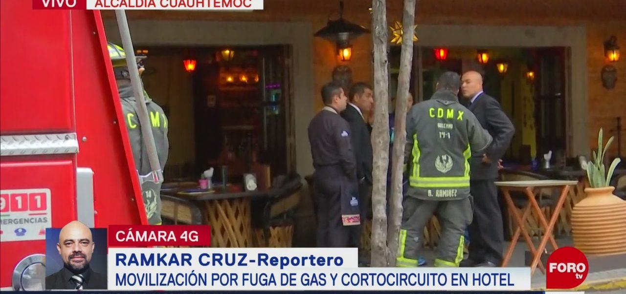 FOTO: Bomberos CDMX controlan fuga de gas cortocircuito hotel
